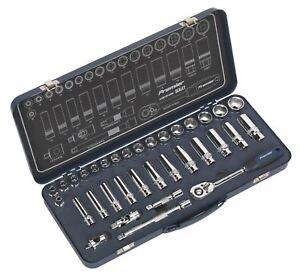 """Sealey AK27481 Socket Set 34pc 3/8""""Sq Drive Lock-On™ 6pt Metric"""