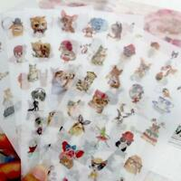 6pcs PVC Flower Sticker Cartoon Cat DIY Sticker Label Children Stationery Decor