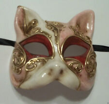 Pink White Gold Gatto Cat Masquerade Mardi Gras Mask Italy Italian Venetian Made