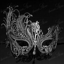 Luxury Swan Metal Mardi Gras Venetian Masquerade Mask for Women M7139 [Silver]