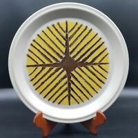 1 Suzuka Stone Japan Yellow & Brown Vintage Stoneware Rustic Dinner Plate 10 5/8