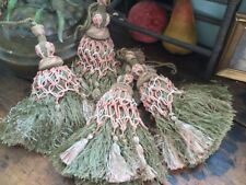 Vintage French set of 4 drapery/curtain tassels tie backs silk passementerie