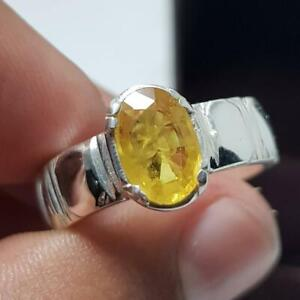 Natural Yellow Sapphire Ring for Mens | 925 Sterling Silver | Yellow Gold Plated
