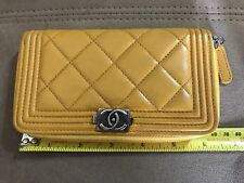 Authentic Chanel Mustard Lamb Skin Le Boy Zipper Wallet Gunmetal HW