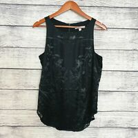 CAbi Sleeveless Black Burnout Floral Lined Zip Back Shell Blouse Shirt Top SZ S