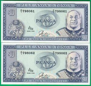 Tonga 10 Pa'anga 1992-95, P28, consecutive UNC!