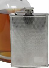 6 oz 3D Checker Pattern Alcohol Liquor Flask Made of 304 (18/8) Stainless Steel