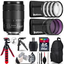 Canon 18-135mm IS USM + MACRO, UV-CPL-FLD Filter + Monopad - 64GB Accessory Kit