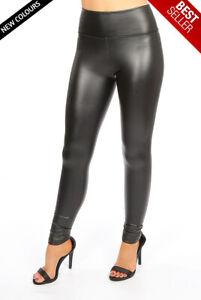 Women Ladies Girls Female High Waist Black Sleek PU Leather Leggings Pants