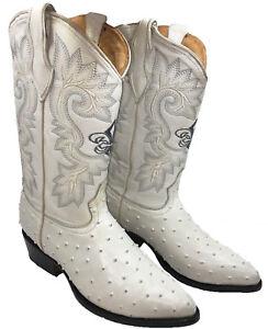 Men's Cowboy Boots Ostrich Print Leather Western  #Ostrich Jtoe
