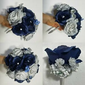 Navy Blue Grey Rose