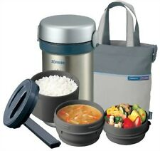 ZOJIRUSHI Thermal Heat Insulation Lunch box Jar Bento Set Silver SL-NC09-ST