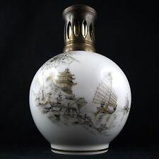 Ancienne LAMPE BERGER PARIS, Porcelaine Camille THARAUD à LIMOGES Pagode&Pêcheur