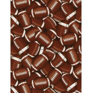 Timeless Treasures Fabrics Score! Sports Brown Packed Footballs