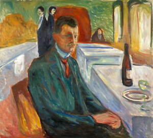 Edvard Munch Self Portrait with a Bottle of Wine Poster Giclee Canvas Print