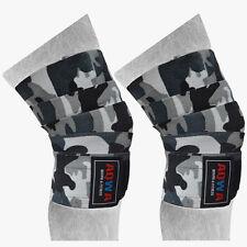 Aqwa Knee Wraps Power Sollevamento Pesi Palestra cinghie bendaggio Guardie Pads, Grigio Mimetico