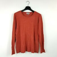 Jm Collection Womens Size Large Rusty Red Long Sleeve Crew Neck Rib Side Top NEW