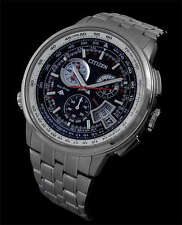 NEW CITIZEN ECO DRIVE RADIO CONTROLLED FULL TITANIUM ALARM CHRONO BY0010-52E