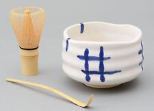 Matcha Schale / Bambuslöffel / Bambusbesen / Matcha-Set  3-tlg. 450ml weiß/blau