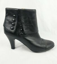 Sofft Black Leather Granny Retro Button Foldover Ankle Boots Heels 10