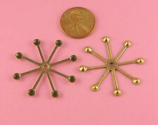 Ant Brass 8 Point Star Setting W/ Center Hole - 2 Pc(s)