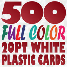500 Full Color Custom 20pt WHITE PLASTIC BUSINESS CARD Printing w Round Corners