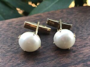 Vintage Gold Metal Cuff Links Large Faux Pearl  Mid Century