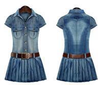 Womens Washed Denim Pleated Dress Casual Jean Shirt Slim Fit Dresses Plus Size