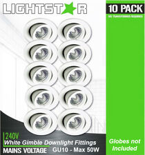 10 x White Gimbal Downlight Fittings 240V GU10 Gimble Adjustabe Tilt Max 50W