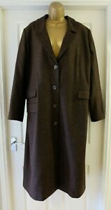 M&S Textured Longline PURE WOOL Chocolate Coat with Pockets Size UK 18 / EU 46