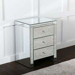 Mirrored Bedroom Bedside Table Chest of 3 Storage Drawers Luxury Night Stand Big