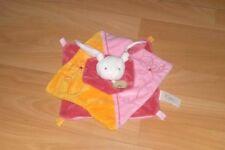 BABY NAT' lapin blanc, rose et orange comme NEUF carrés brodé de fleurs