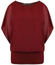 Neue Womens Plus Größe 2 In 1 Trikot Chiffon Batwing-tunika Oberteile 8-26