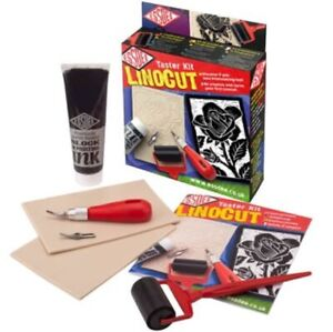 Linocut Taster Kit - 45mm Ink roller, 2 Softcut Lino blocks, block printing ink