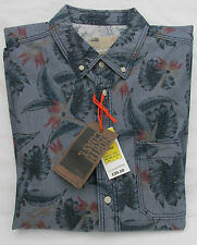 Men's Marks and Spencer North Coast Blue Floral Lived in Washed Shirt Size L