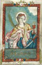 peinture miniature religion XVIIe - Ste Barbara - martyre - image pieuse canivet