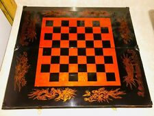 Antique Chinese Lacquered Folding Chess/Backgammon/Checkers Set Early 20th C