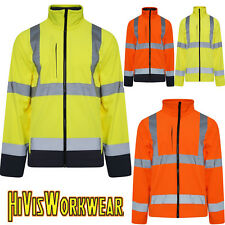 HI VIZ HIGH VIS VISIBILITY WORK JACKETS SOFT SHELL REFLECTIVE TAPE SECURITY COAT