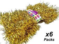 4 Packs X 6m Red Christmas Festive Tinsel Foil 3 Ply 8cm