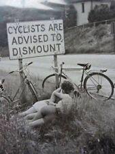 Vintage Cyclists Dismount Photo Bizarre Odd Freaky Strange