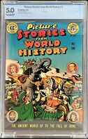 🍁 EC Comics: Picture Stories From World History #1 1947, CBCS 5.0 Graded!
