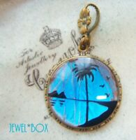 GORGEOUS ANTIQUE  ART DECO MORPHO BUTTERFLY WING TROPICAL PENDANT for NECKLACE