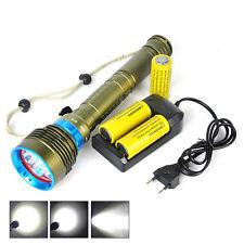 200m Diving 7x XM-L2 30000LM LED Flashlight Fishing Torch 6800mAh 3x 26650 Lamp