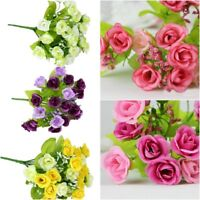 21 HEADS ARTIFICIAL FAKE SILK FLOWERS ROSE BUNCH Wedding Home Party Bouquet UK