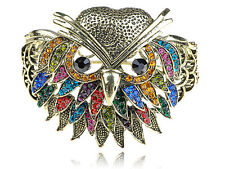 Golden Grandfather Owl Colors Crystal Rhinestone Bird Face Bracelet Bangle Cuff