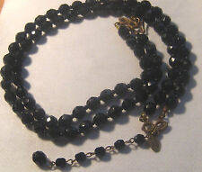 1950s Miriam Haskell 2 Strand Black Jet Glass Beads Necklace – MH Toggle Charm