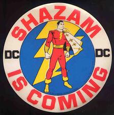 SHAZAM REPRO 1972 SHAZAM IS COMING STICKER . DC COMICS