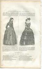 ANTIQUE VICTORIAN MORNING RECEPTION OPERA DRESSES WOMAN COSTUMES OLD ART PRINT