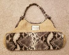 Nicole Miller Tan Faux Snakeskin Handbag Purse Tote Button & Zip Compartments