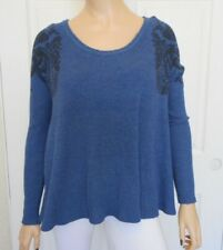 We the FREE PEOPLE Top Size Small Womens Long Sleeve Thermal Blue